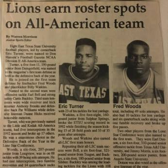 Woods was one of 8 Lion All-Americans from the 1992 team.
